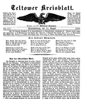 Teltower Kreisblatt vom 14.08.1858