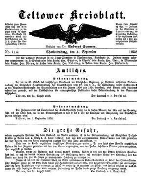 Teltower Kreisblatt vom 04.09.1858