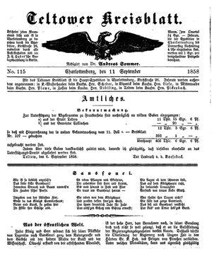 Teltower Kreisblatt vom 11.09.1858