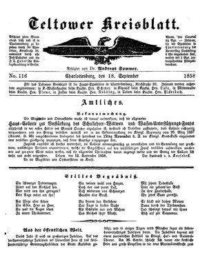 Teltower Kreisblatt vom 18.09.1858
