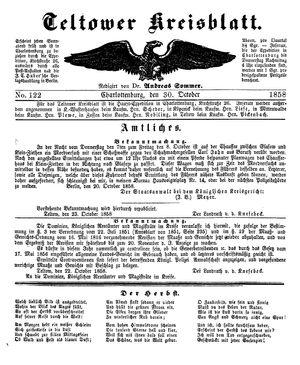 Teltower Kreisblatt vom 30.10.1858