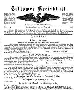 Teltower Kreisblatt vom 06.11.1858