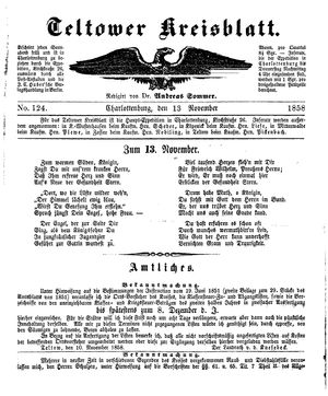 Teltower Kreisblatt vom 13.11.1858