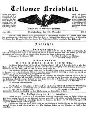 Teltower Kreisblatt vom 20.11.1858