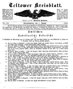 Teltower Kreisblatt vom 01.01.1859