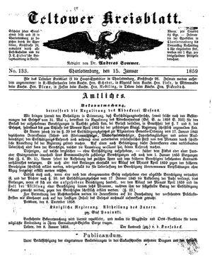 Teltower Kreisblatt vom 15.01.1859