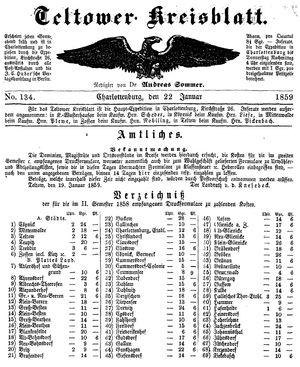 Teltower Kreisblatt vom 22.01.1859
