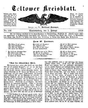 Teltower Kreisblatt vom 05.02.1859
