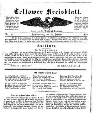 Teltower Kreisblatt vom 12.02.1859