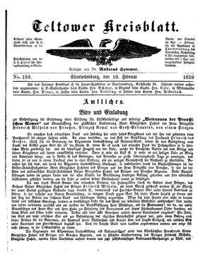 Teltower Kreisblatt vom 19.02.1859