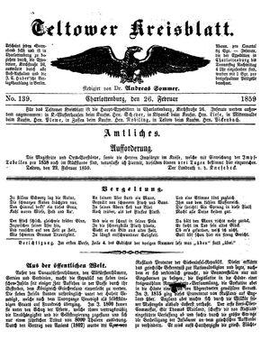 Teltower Kreisblatt vom 26.02.1859