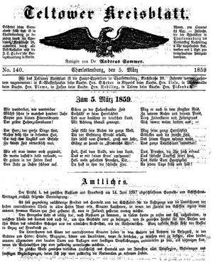 Teltower Kreisblatt vom 05.03.1859