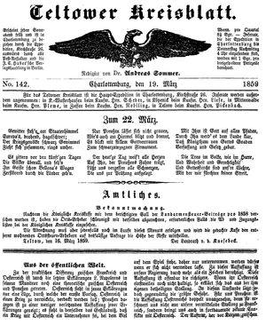 Teltower Kreisblatt vom 19.03.1859