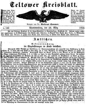 Teltower Kreisblatt vom 26.03.1859