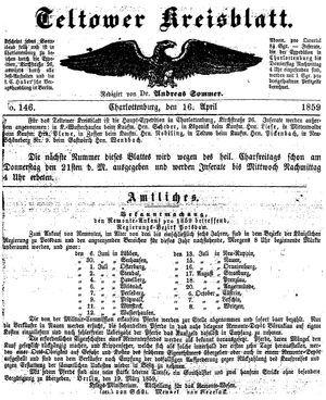 Teltower Kreisblatt vom 16.04.1859