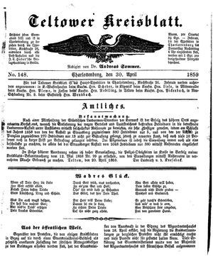 Teltower Kreisblatt vom 30.04.1859