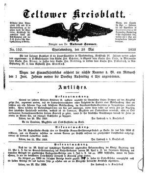 Teltower Kreisblatt vom 28.05.1859