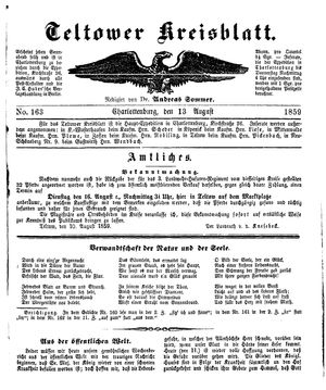 Teltower Kreisblatt vom 13.08.1859