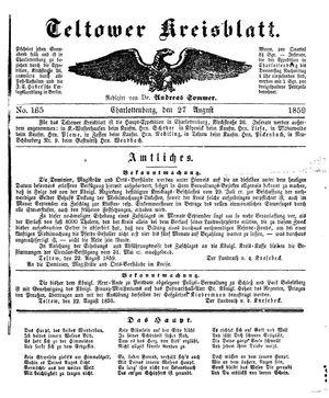 Teltower Kreisblatt vom 27.08.1859