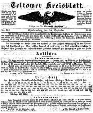 Teltower Kreisblatt vom 24.09.1859