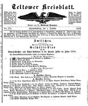 Teltower Kreisblatt vom 01.10.1859