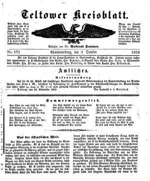 Teltower Kreisblatt vom 08.10.1859