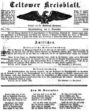 Teltower Kreisblatt vom 05.11.1859