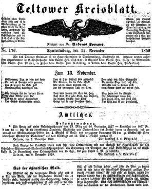 Teltower Kreisblatt vom 12.11.1859