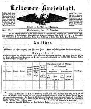 Teltower Kreisblatt vom 10.12.1859
