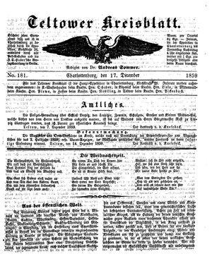 Teltower Kreisblatt vom 17.12.1859