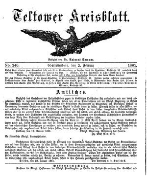 Teltower Kreisblatt vom 02.02.1861