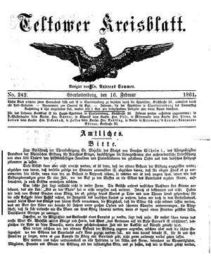 Teltower Kreisblatt vom 16.02.1861