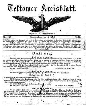 Teltower Kreisblatt vom 06.04.1861