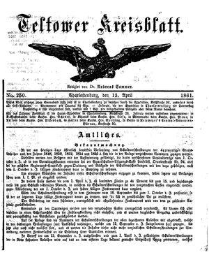 Teltower Kreisblatt vom 13.04.1861