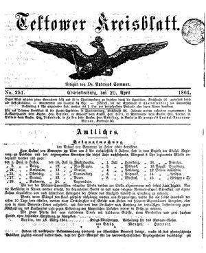 Teltower Kreisblatt vom 20.04.1861