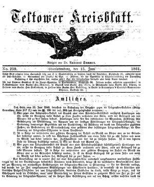 Teltower Kreisblatt vom 15.06.1861