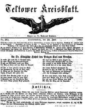 Teltower Kreisblatt vom 29.06.1861