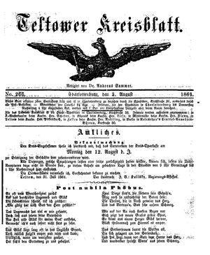 Teltower Kreisblatt vom 03.08.1861