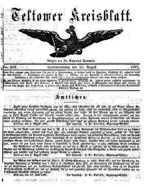 Teltower Kreisblatt vom 10.08.1861