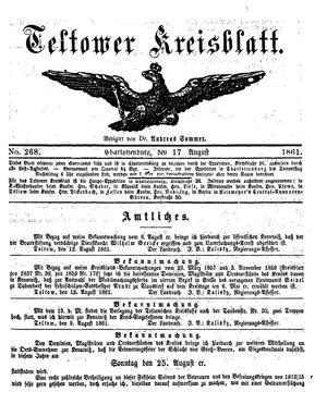 Teltower Kreisblatt vom 17.08.1861