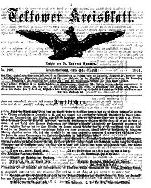 Teltower Kreisblatt vom 24.08.1861