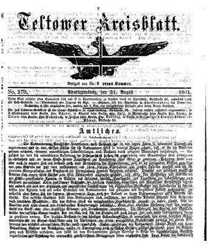 Teltower Kreisblatt vom 31.08.1861