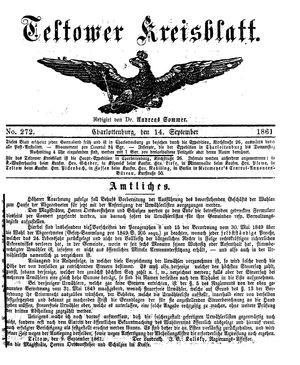 Teltower Kreisblatt vom 14.09.1861
