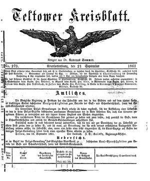 Teltower Kreisblatt vom 21.09.1861