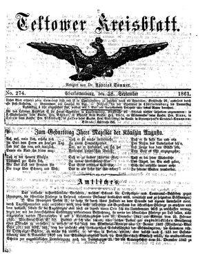 Teltower Kreisblatt vom 28.09.1861
