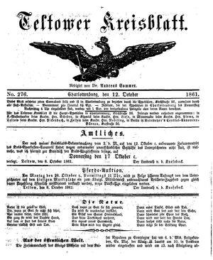 Teltower Kreisblatt vom 12.10.1861