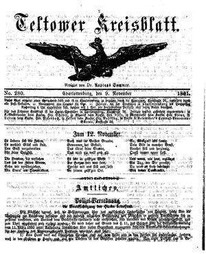 Teltower Kreisblatt vom 09.11.1861