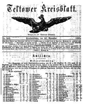 Teltower Kreisblatt vom 30.11.1861