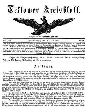 Teltower Kreisblatt on Dec 21, 1861