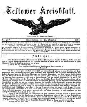 Teltower Kreisblatt vom 28.12.1861